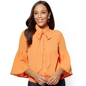 TALL - NY&CO Banded-Hem Bow-Accent Blouse